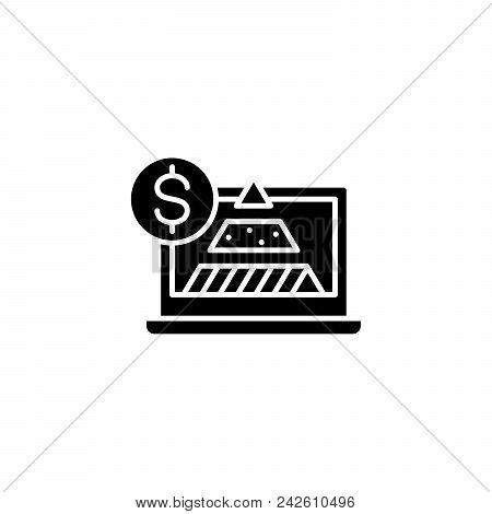 Financial Market Structure Black Icon Concept. Financial Market Structure Flat  Vector Website Sign,