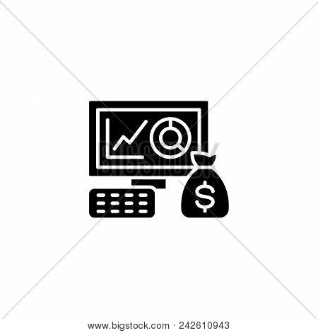 Financial Results Black Icon Concept. Financial Results Flat  Vector Website Sign, Symbol, Illustrat