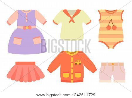 Baby Clothes Poster With Set Of Dress, Skirt And T-shirts With Pocket And Car, Bodysuit And Cherry P