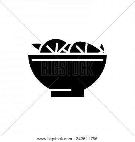 First Course Black Icon Concept. First Course Flat  Vector Website Sign, Symbol, Illustration.