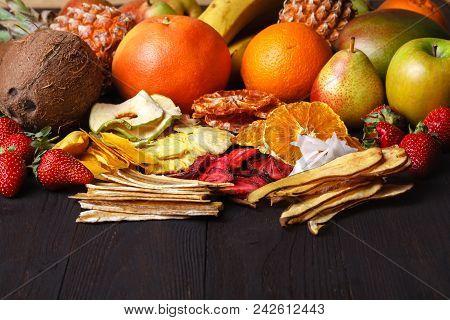 Dried Fruit With Juicy Slices Of Citrus. Orange, Lemon, Grapefruit. Citrus Mix Concept. Healthy Snac