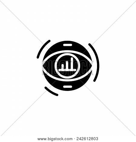 Focusing On Revenue Black Icon Concept. Focusing On Revenue Flat  Vector Website Sign, Symbol, Illus