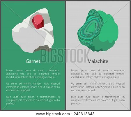 Garnet And Malachite Hydroxide Minerals, Red And Green Crystals Posters Set, Malachite And Garnet Ve