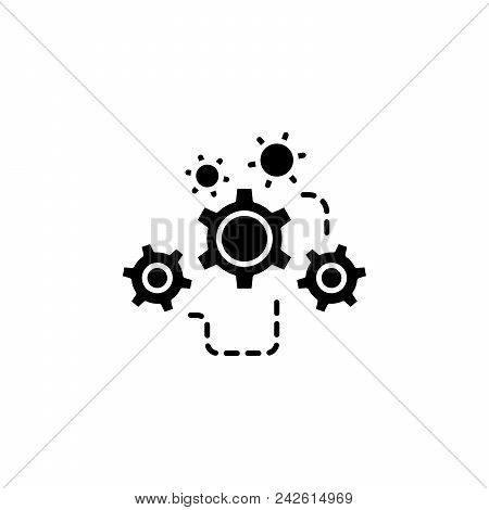 Gear Transmission Black Icon Concept. Gear Transmission Flat  Vector Website Sign, Symbol, Illustrat