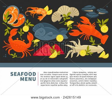 Seafood Menu Of Fresh Fish For Sea Food Restaurant Or Fisher Market And Chef Cooking Recipe. Vector