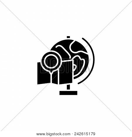 Geography subject black icon concept. Geography subject flat  vector website sign, symbol, illustration. poster