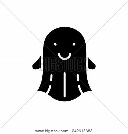 Ghost Stories Black Icon Concept. Ghost Stories Flat  Vector Website Sign, Symbol, Illustration.