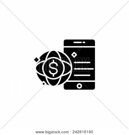 Global Commerce Black Icon Concept. Global Commerce Flat  Vector Website Sign, Symbol, Illustration.