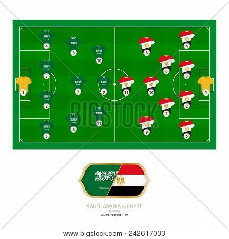 Football Match Saudi Arabia Versus Egypt. Saudi Arabia Preferred System Lineup 4-3-3, Egypt Preferre