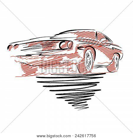Vintage Muscle Car Drawing. Hand Drawn Vector Illustration.