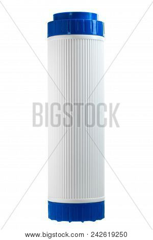 The filter for drinking water filtering a cartridge for system of house water purification on a white background. poster