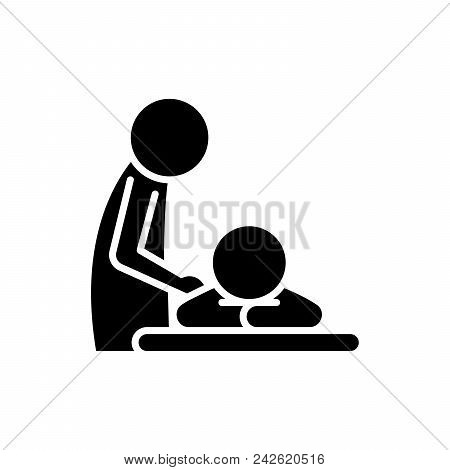 Healing Massage Black Icon Concept. Healing Massage Flat  Vector Website Sign, Symbol, Illustration.