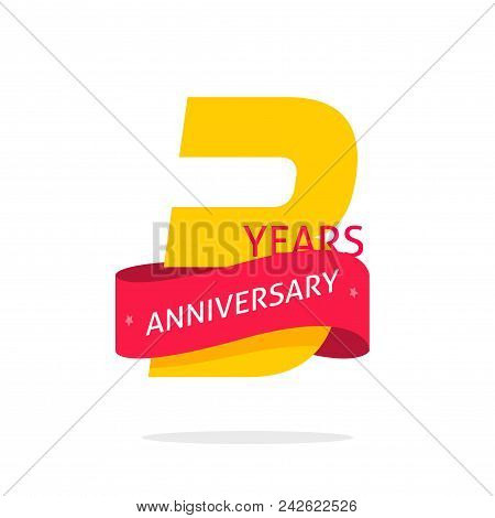3 Years Anniversary Logo Template Isolated On White, Number 3 Anniversary Icon Label With Red Ribbon