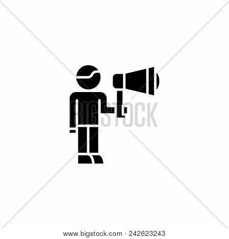 Hr Promotion Black Icon Concept. Hr Promotion Flat  Vector Website Sign, Symbol, Illustration.
