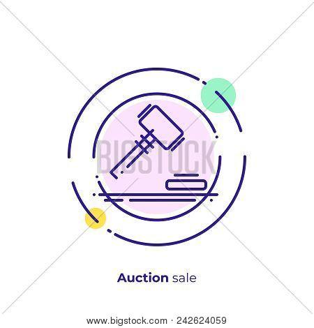 Finance Auction Line Art Icon, Business Case Judgement Vector Art, Outline Digital Bargain Illustrat