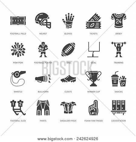 American Football, Rugby Vector Flat Glyph Icons. Sport Game Elements - Ball, Field, Player, Helmet,