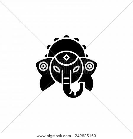 Indian deity black icon concept. Indian deity flat  vector website sign, symbol, illustration. poster