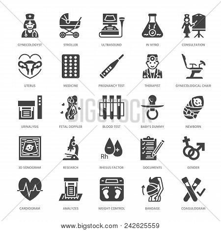 Gynecology, obstetrics vector flat glyph icons. Pregnancy medical elements - baby ultrasound, in vitro fertilization, test, uterus, pregnant woman. Solid silhouette pixel perfect 64x64. poster