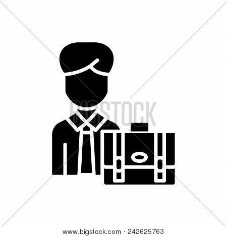 Individual Businessman Black Icon Concept. Individual Businessman Flat  Vector Website Sign, Symbol,