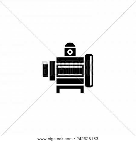 Industrial Motor Black Icon Concept. Industrial Motor Flat  Vector Website Sign, Symbol, Illustratio