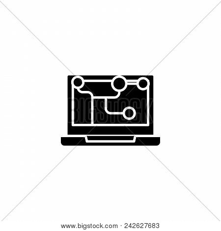 Interactions Chain Black Icon Concept. Interactions Chain Flat  Vector Website Sign, Symbol, Illustr