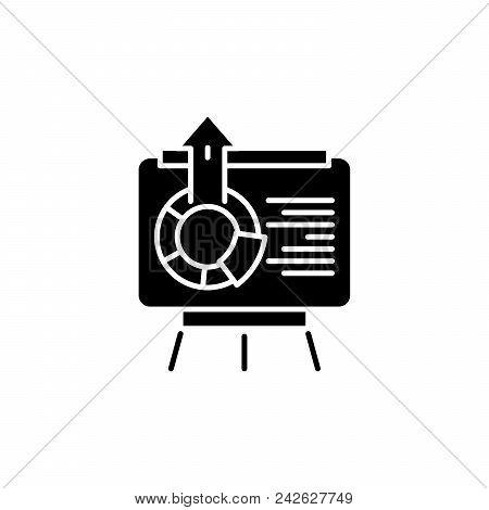 Interactive Marketing Presentation Black Icon Concept. Interactive Marketing Presentation Flat  Vect