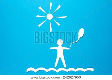 Paper Man Origami With Balloon On Blue Background With Sun. Concept Of Happiness, Serenity And Dream