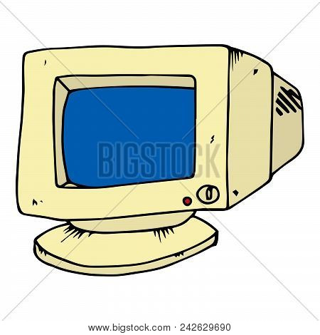 Hand Drawn Contour Of The Crt Monitor. Crt Monitor. Old Computer Monitor. Vector Illustration.