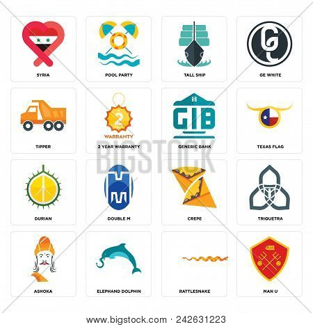 Set Of 16 Simple Editable Icons Such As Man U, Rattlesnake, Elephand Dolphin, Ashoka, Triquetra, Syr