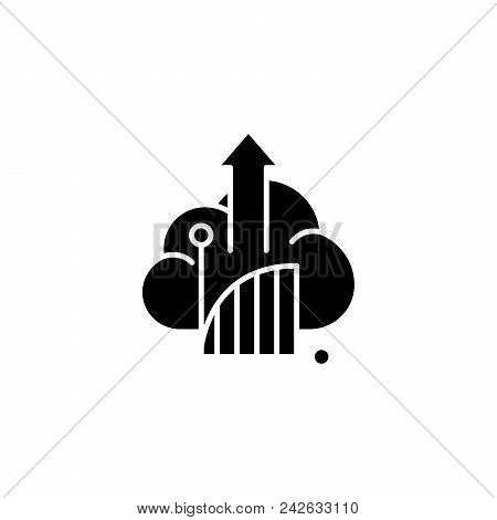 Line Chart Black Icon Concept. Line Chart Flat  Vector Website Sign, Symbol, Illustration.