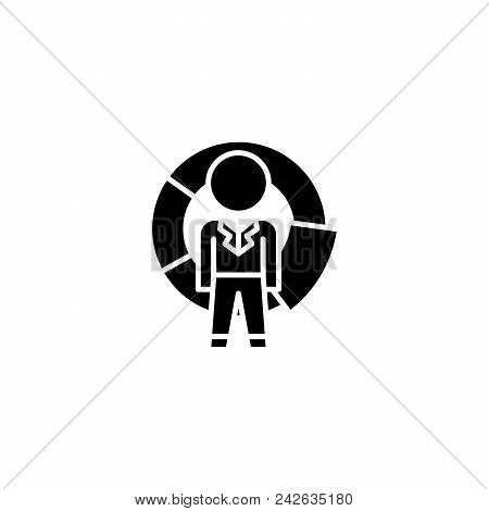 Manager Competition Black Icon Concept. Manager Competition Flat  Vector Website Sign, Symbol, Illus
