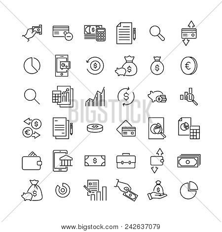 Modern Outline Style Banking Icons Collection. Premium Quality Symbols And Sign Web Logo Collection.