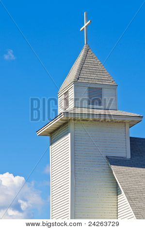 Church Steeple, And Cross