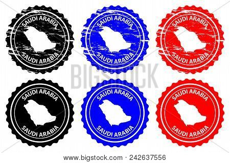 Saudi Arabia - Rubber Stamp - Vector, Kingdom Of Saudi Arabia (ksa) Map Pattern - Sticker - Black, B
