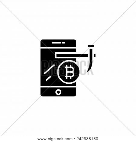 Mining With Gpu Black Icon Concept. Mining With Gpu Flat  Vector Website Sign, Symbol, Illustration.