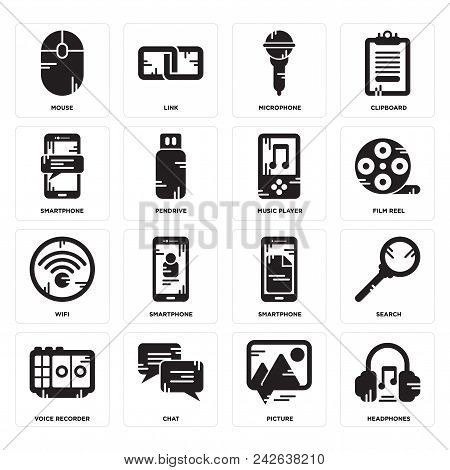 Set Of 16 Simple Editable Icons Such As Headphones, Picture, Chat, Voice Recorder, Search, Mouse, Sm