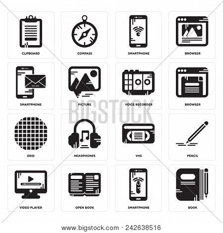 Set Of 16 Simple Editable Icons Such As Book, Smartphone, Open Book, Video Player, Pencil, Clipboard
