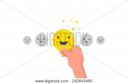 Happy Customer, Satisfaction Clients, Concept Design With Yellow Happy Face Emoji