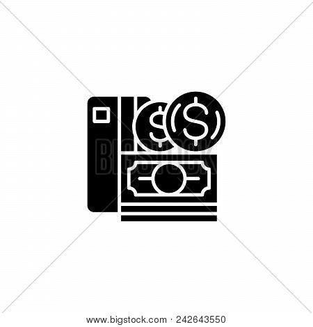 Money Black Icon Concept. Money Flat  Vector Website Sign, Symbol, Illustration.