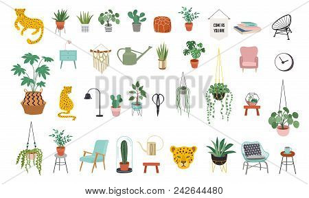 Urban Jungle, Trendy Home Decor Elements Of Plants, Planters, Cacti, Tropical Leaves , Macrame Hange