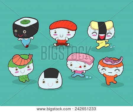 Set Of Funny Sushi Characters. Happy Cartoon Sushi Characters. Kawaii Sushi , Tasty Japanese Food Se