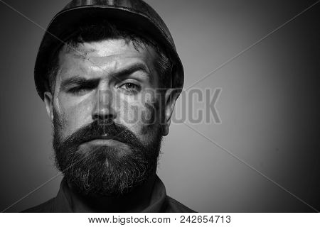 Business, Building, Industry, Technology - Builder Concept. Construction Worker In Hard Hat. Close U