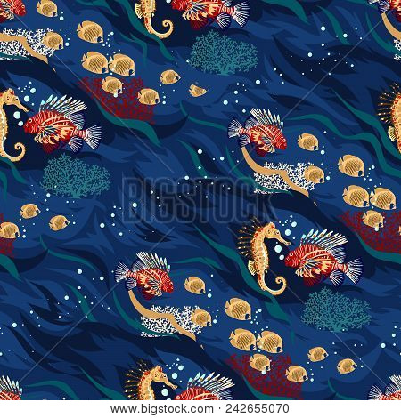 Vector Seamless Pattern Of Sea Life, Fishes, Whale, Corals And Sea Plants In Bright Colors. Beautifu