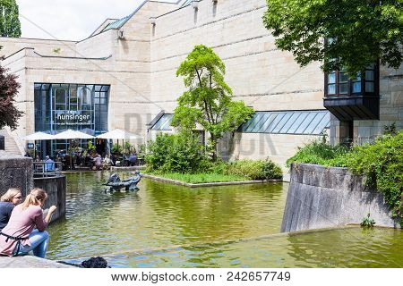 Munich, Germany - May 23, 2018: People Near Building Of Pinakothek Der Moderne In Munich City. The N