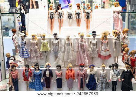 Munich, Germany - May 24, 2018: Barbie Dolls In Spielzeugmuseum (toy Museum) In Tower Of Old Town Ha