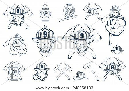 Set Of Firefighter Emblems And Elements. Firefighting Logo. The Fireman's Head In A Mask. Fire Depar