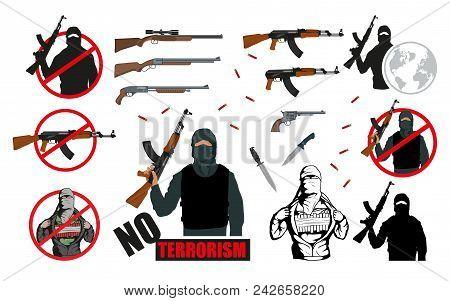 Set Of World Terror Illustration.weapon Set. Stop Terrorism Concept. Vector Graphics To Design.