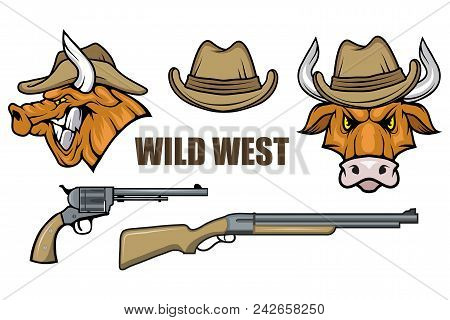 Hat And Guns Cowboy. Cartoon Picture Of The Wild West. Cowboy Concept. Vector Graphics To Design.