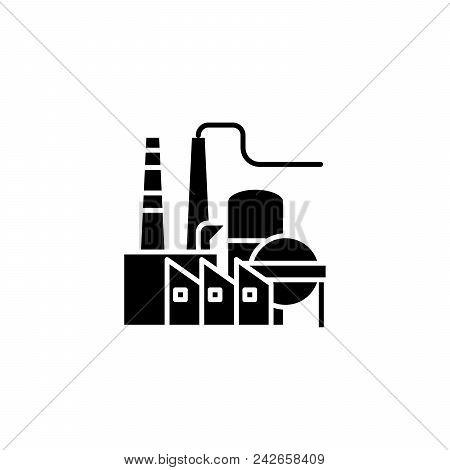 Petroleum Refinery Black Icon Concept. Petroleum Refinery Flat  Vector Website Sign, Symbol, Illustr