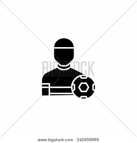 Physical Training Black Icon Concept. Physical Training Flat  Vector Website Sign, Symbol, Illustrat